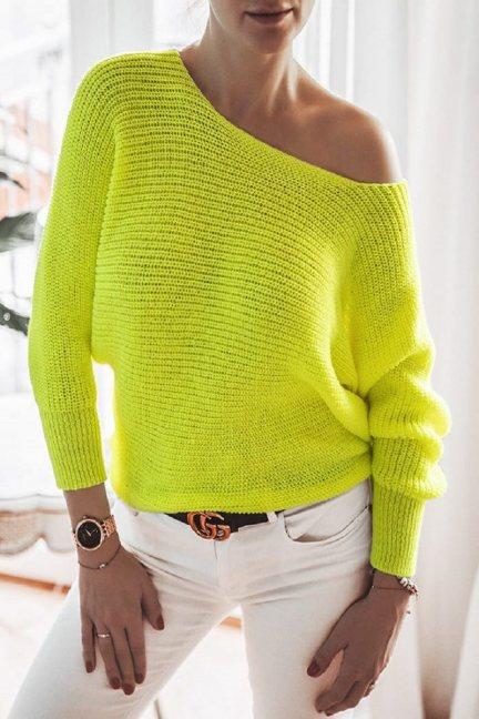 Sweter modny oversize damski neon żółty