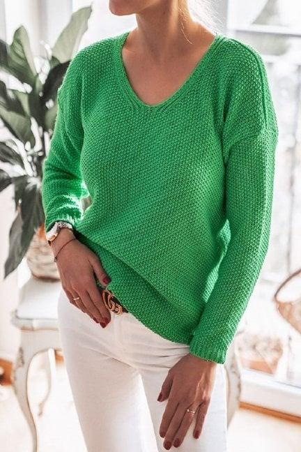 Sweter oversize wycięty dekolt zielony