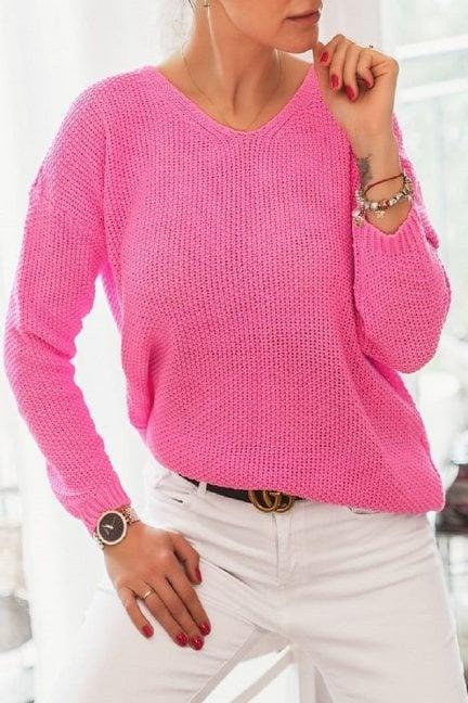 Sweter oversize wycięty dekolt różowy