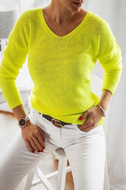 Sweter oversize wycięty dekolt neon żółty