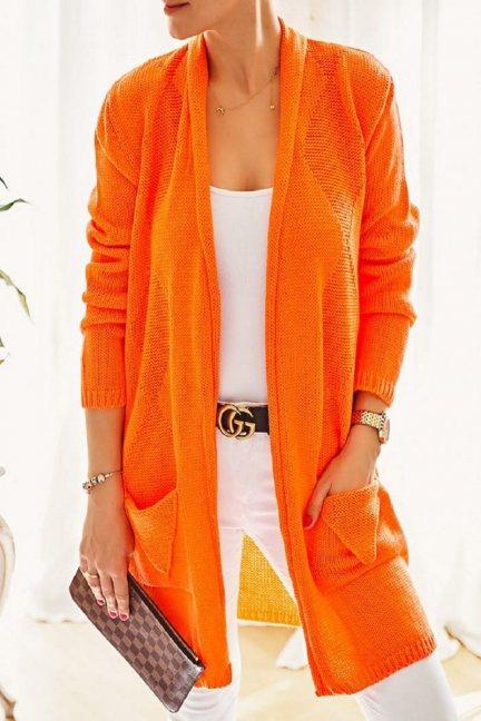 Kardigan długi damski kieszenie pomarańcz