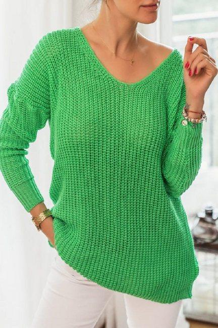 Sweter damski modny oversize jasnozielony