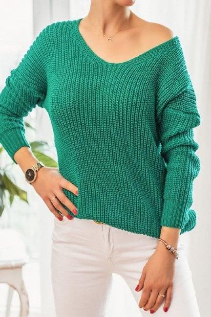 Sweter damski modny oversize zielony