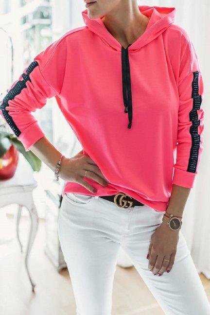 Bluza sportowa z kapturem neon różowy