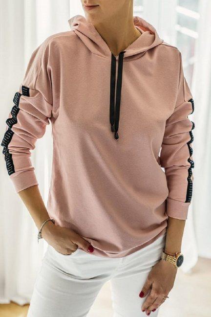 Bluza sportowa z kapturem brudny róż