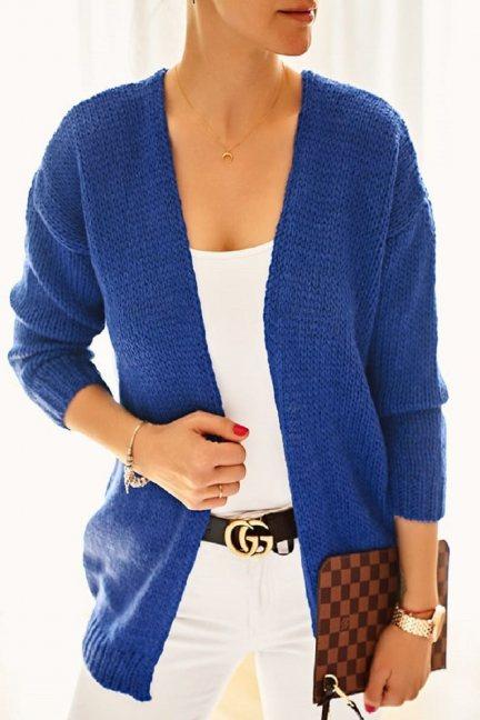 Narzutka damska sweter chabrowa