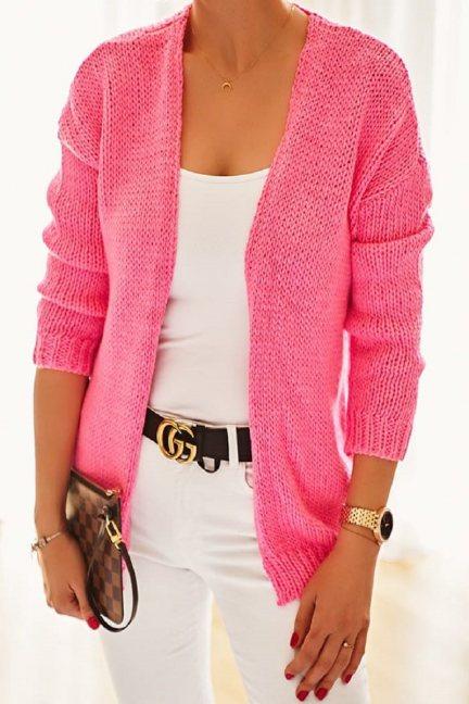 Narzutka damska sweter malinowa