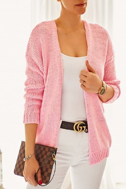 Narzutka damska sweter różowa