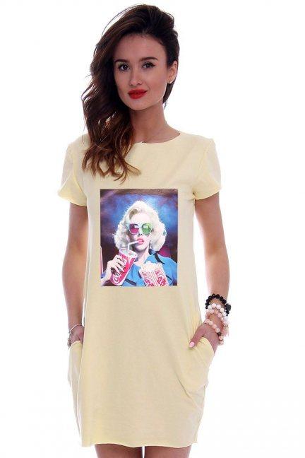 Sukienka tuba nadruk Marilyn żółta
