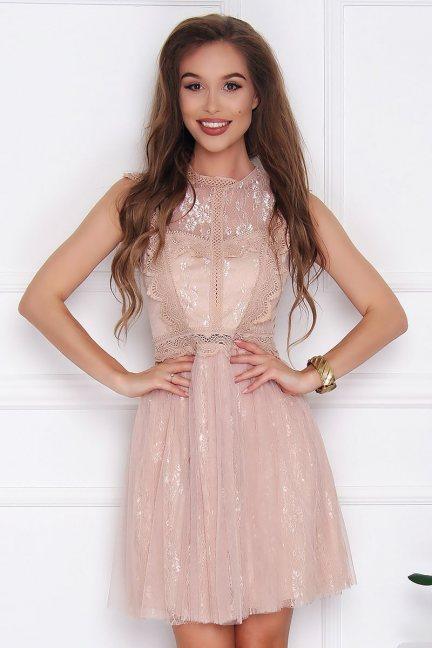 Sukienka elegancka mini koronka beżowa