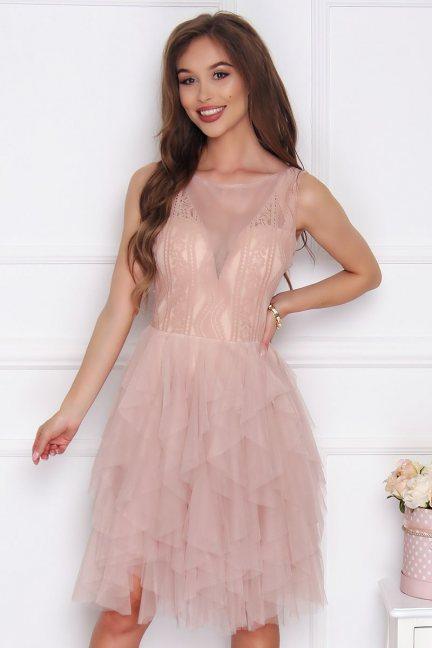 Sukienka damska z szyfonu beżowa