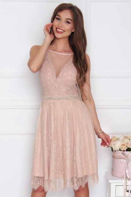 Sukienka damska midi z szyfonu beżowa