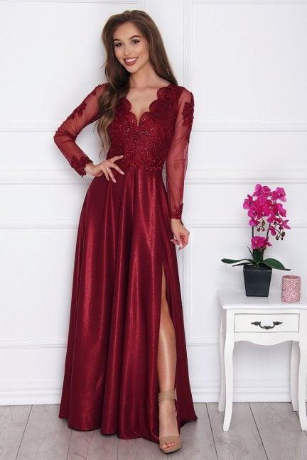 Sukienka elegancka z koronką bordowa