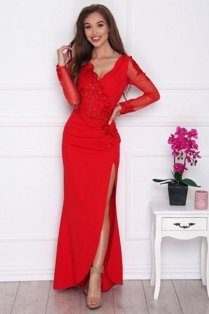 Sukienka wizytowa maxi z rozporkiem czerwona