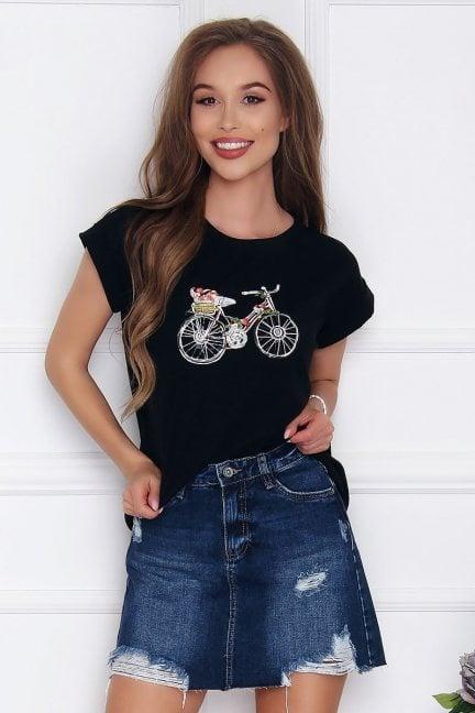 T-shirt damski z aplikacją Bicycle czarny