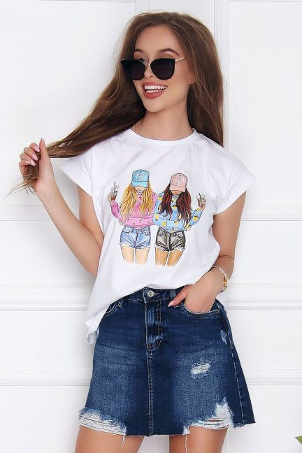 T-shirt bawełniany damski Friends biały