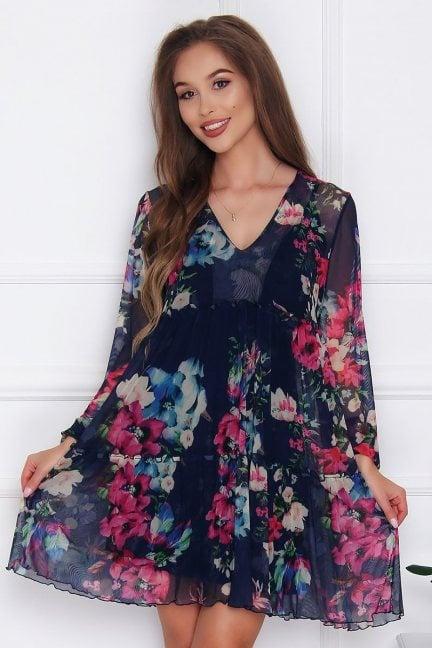 Sukienka szyfonowa w kwiatki granatowa