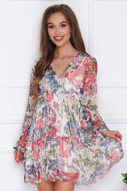 Sukienka szyfonowa w kwiatki ecru