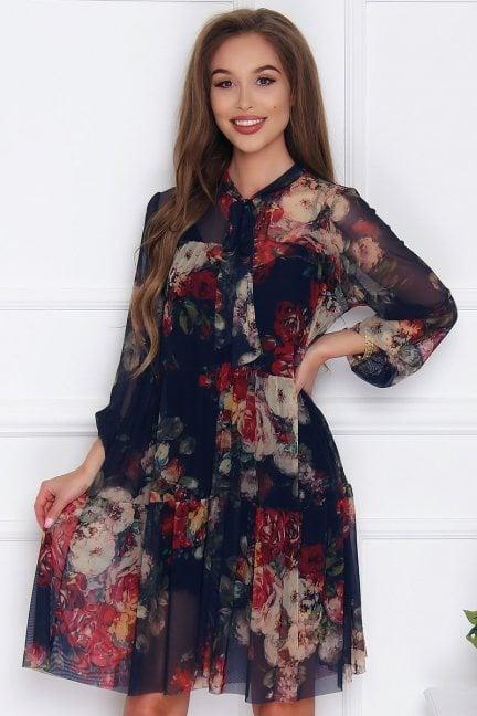 Sukienka tiulowa w kwiaty granatowa