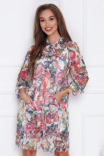 Sukienka tiulowa w kwiaty ecru