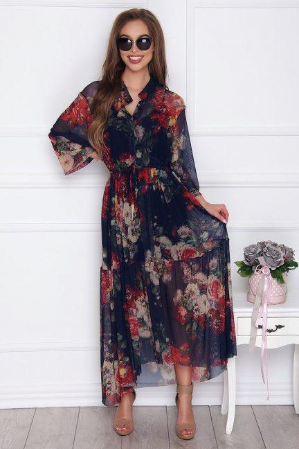 Sukienka asymetryczna w kwiatki granatowa