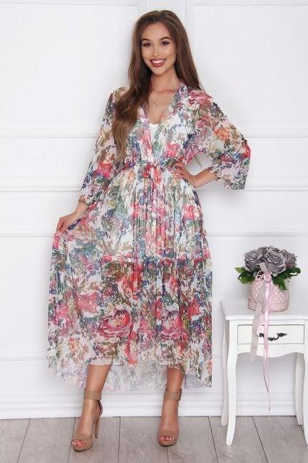 Sukienka asymetryczna w kwiaty ecru
