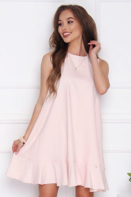 Sukienka trapezowa z falbanką pudrowy róż
