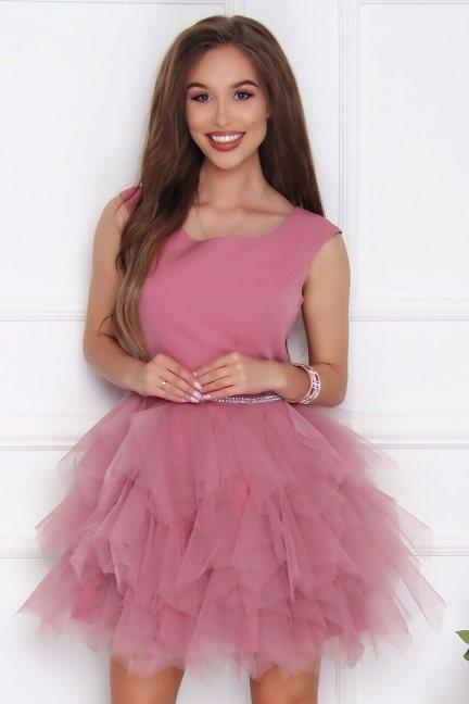Sukienka elegancka mini tiulowa brudny róż