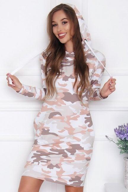 Sukienka damska z kapturem moro beżowa
