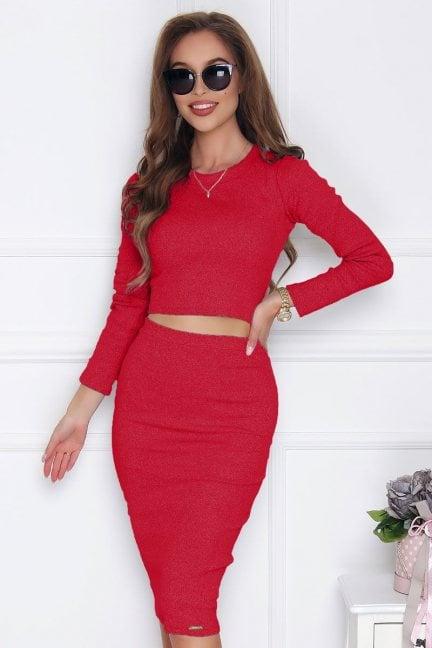 Komplet spódnica z bluzką czerwony