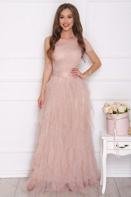 Sukienka szyfonowa maxi falbanki beżowa