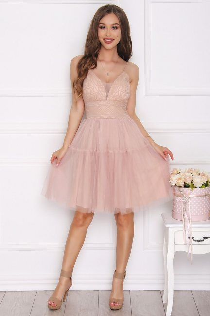 Sukienka tiulowa mini koronka beżowa