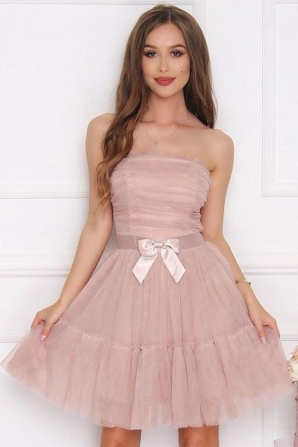 Sukienka damska gorset kokardka beżowa