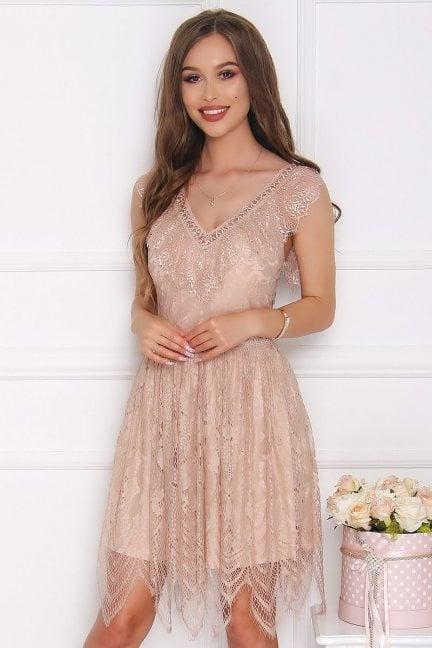 Sukienka koronkowa z dekoltem beżowa