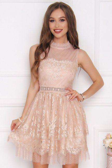 Sukienka damska mini ze stójką beżowa