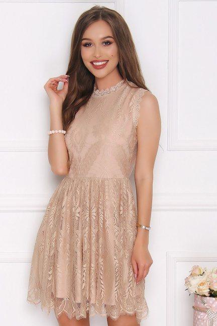 Sukienka elegancka z koronki beżowa
