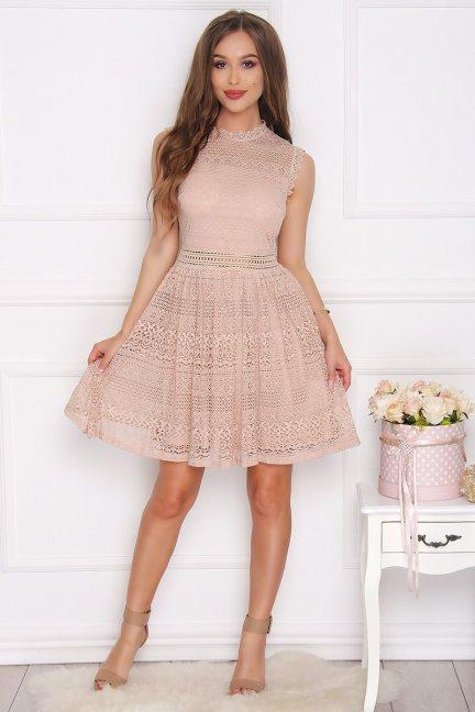 Sukienka koronkowa ze stójką beżowa