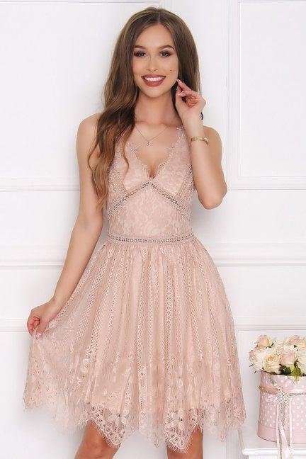 Sukienka rozkloszowana z dekoltem beżowa