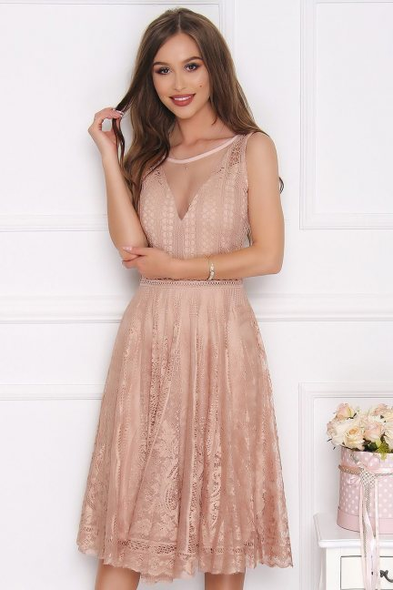 Sukienka damska midi koronka beżowa