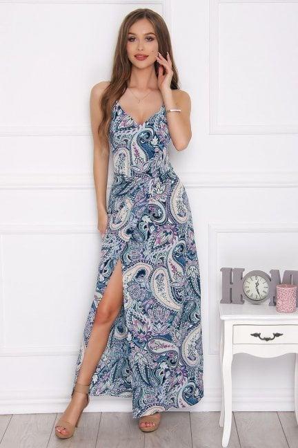 Sukienka modna maxi w kwiatki niebieska