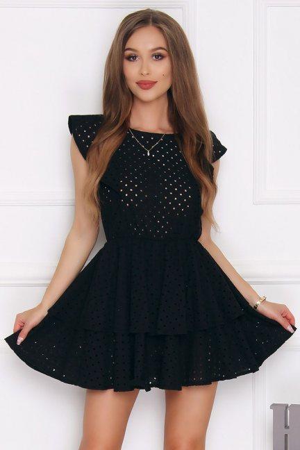 Sukienka rozkloszowana mini falbanka czarna