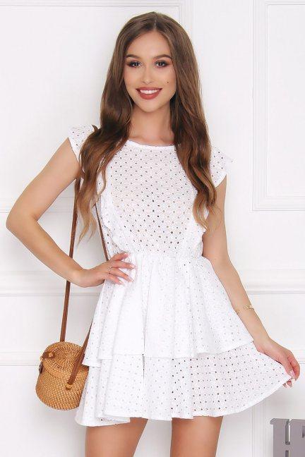 Sukienka rozkloszowana mini falbanka biała