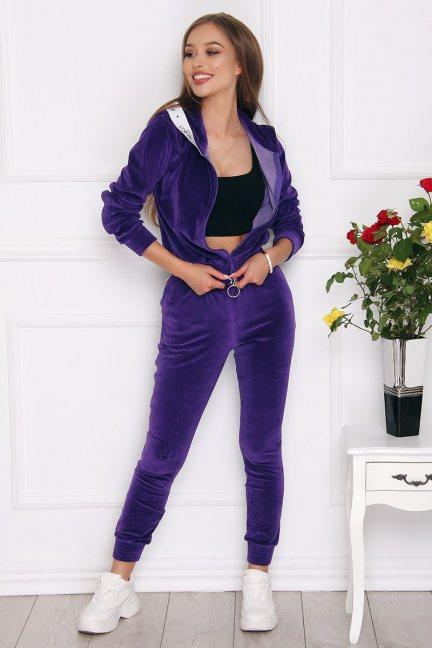 Dresy damskie modne z weluru fioletowe
