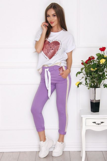 Komplet damski bluzka ze spodniami fioletowy