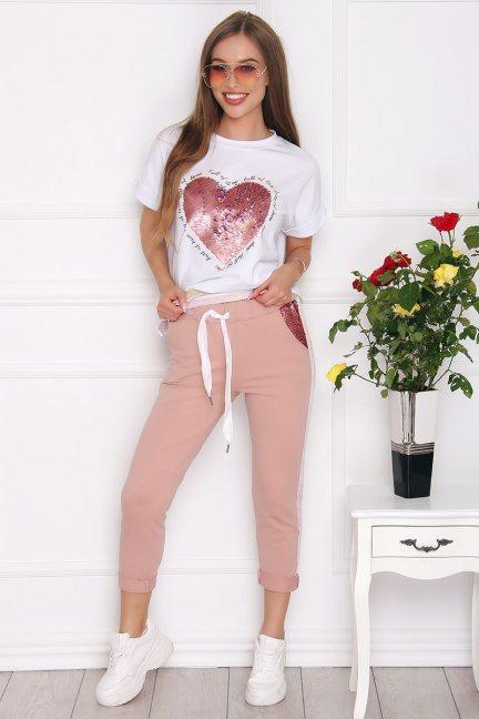 Komplet damski bluzka ze spodniami różowy