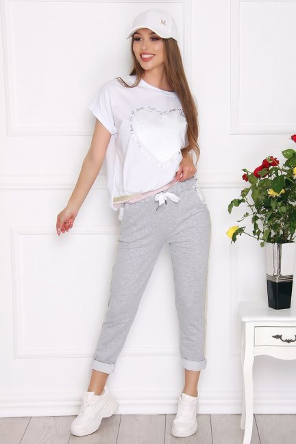 Komplet damski bluzka ze spodniami szary