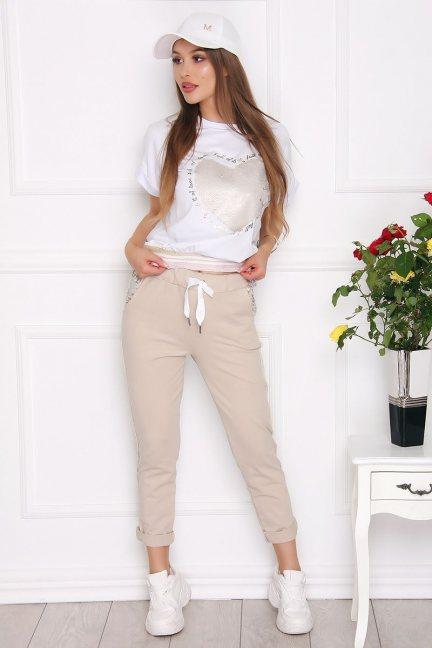 Komplet damski bluzka ze spodniami beżowy