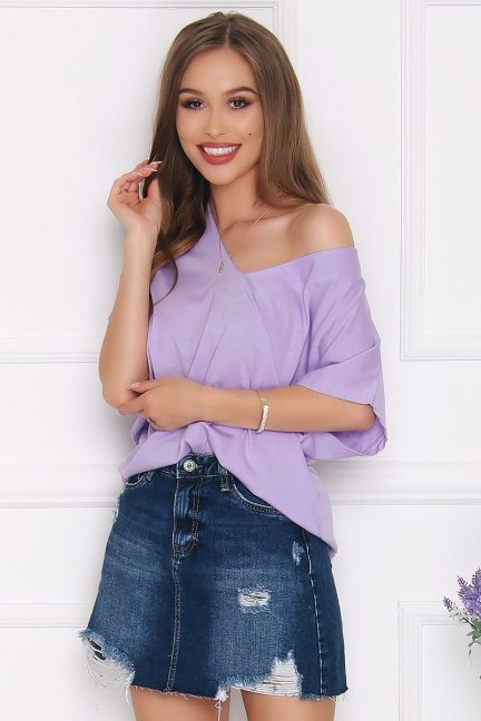 Bluzka bawełniana oversize fioletowa
