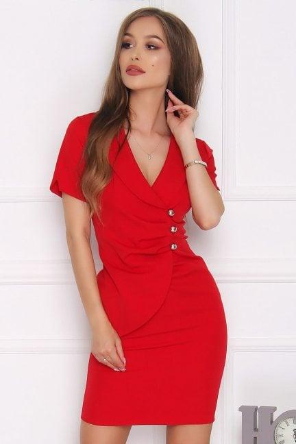 Sukienka dopasowana mini guziki czerwona