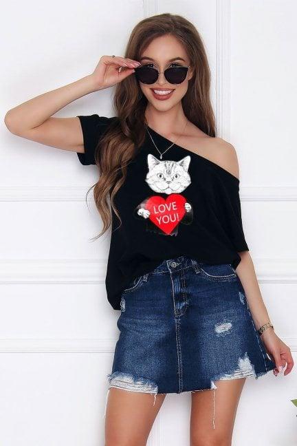 Bluzka sportowa z nadrukiem Cat czarna